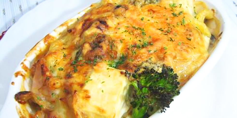 豆腐となめ茸のマカロニグラタン